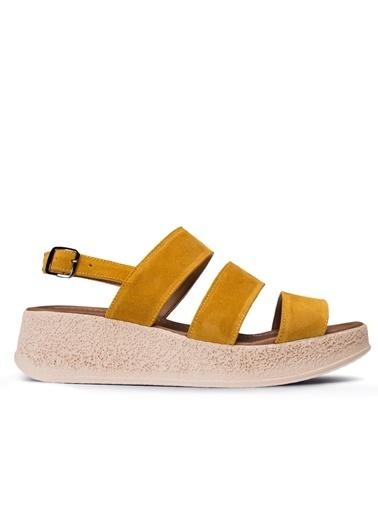 Deery Hakiki Deri Sandalet Hardal
